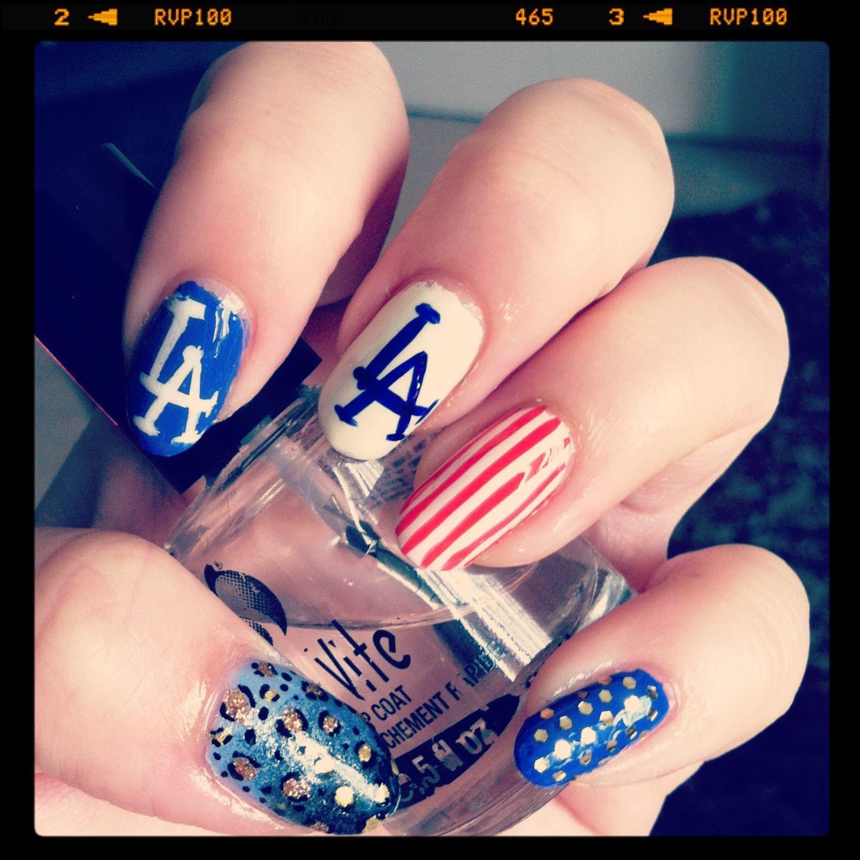 Los Angeles Dodgers Nails Nailart Nails By Paige Me Pinterest