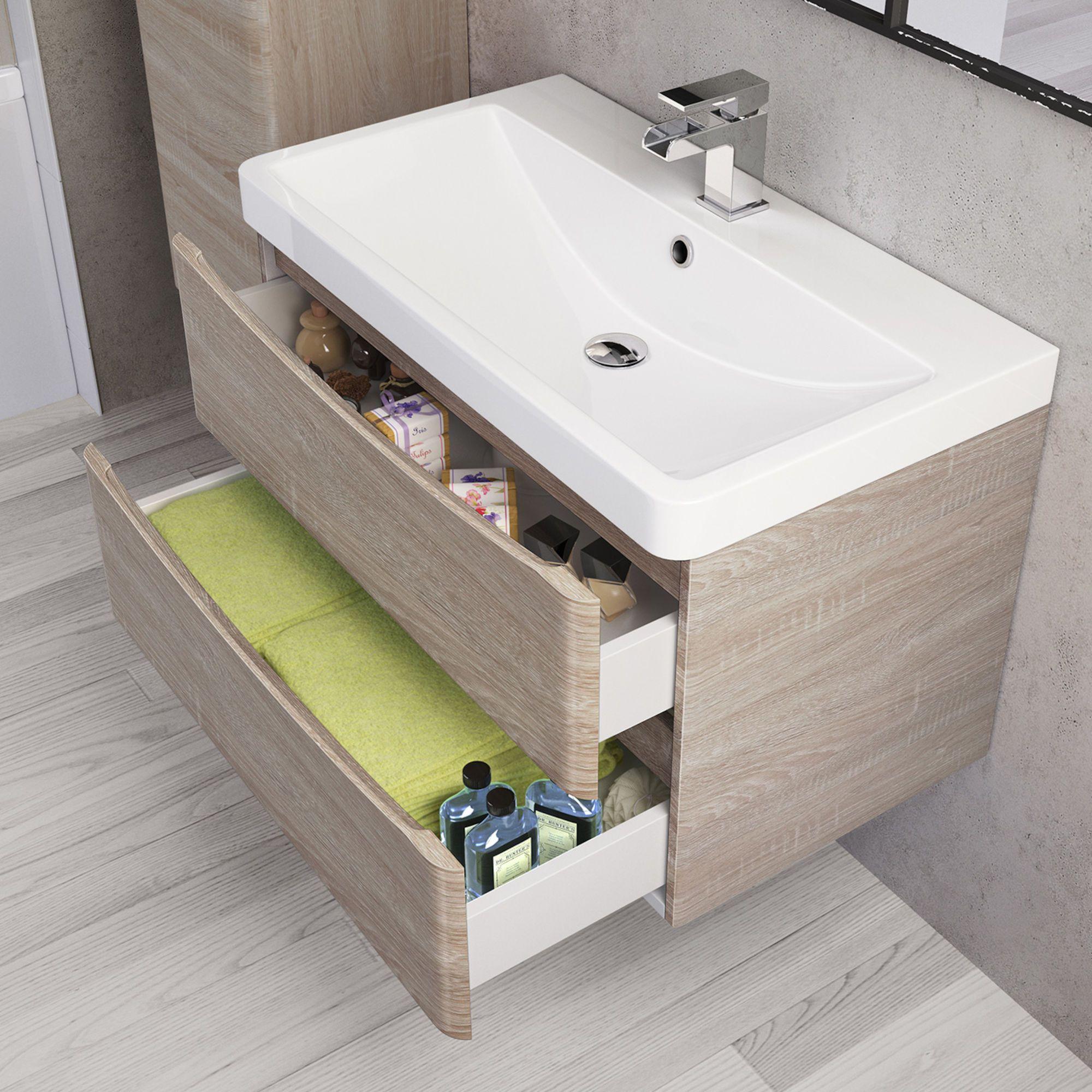 800mm Austin Ii Light Oak Effect Built In Basin Drawer Unit Wall Hung Small Bathroom Furniture Bathroom Sink Units Sink