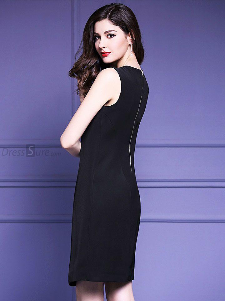 Buy Fashion O-Neck Sleeveless Asymmetric Slim Dress with High ...