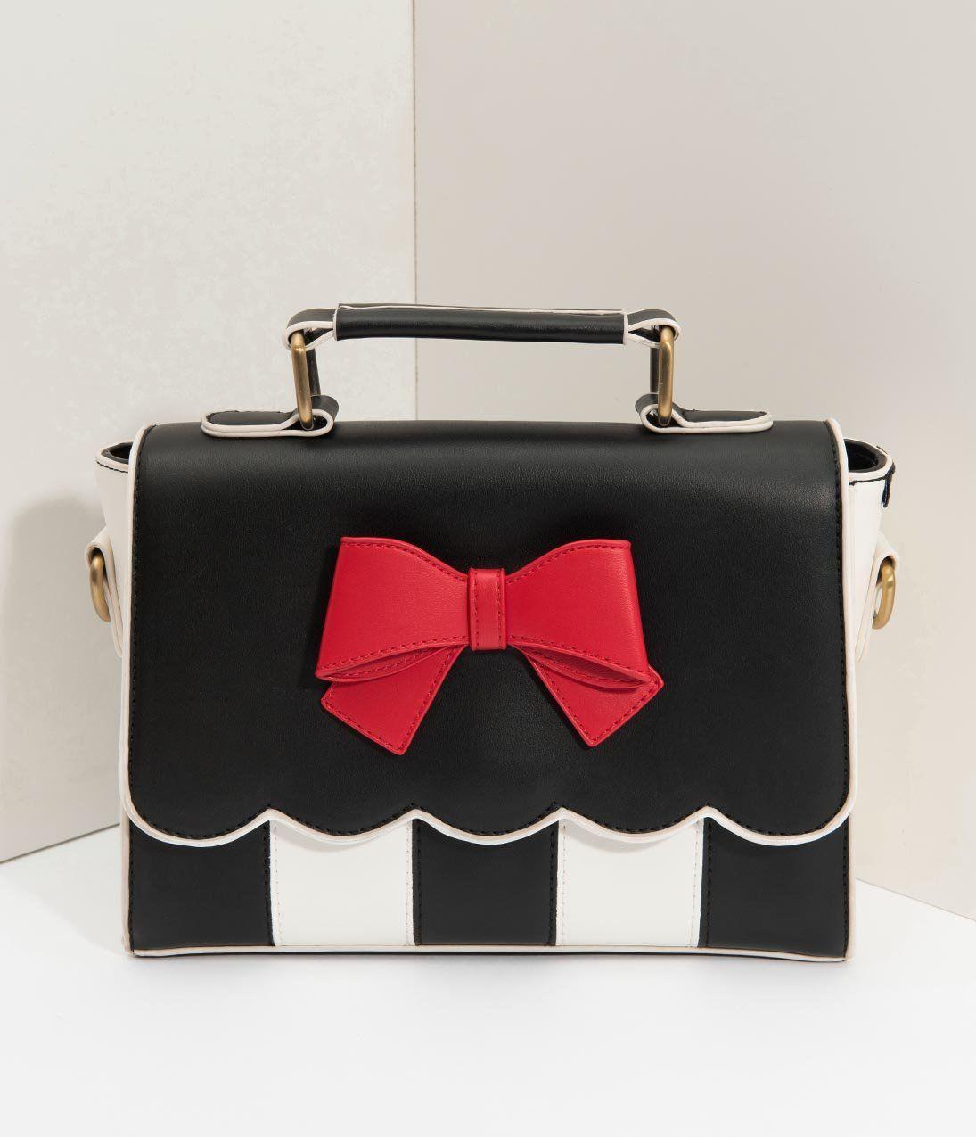 e907f4d818cb5 Lola Ramona Black & Cream Stripe Red Bow Stella Handbag – Unique Vintage