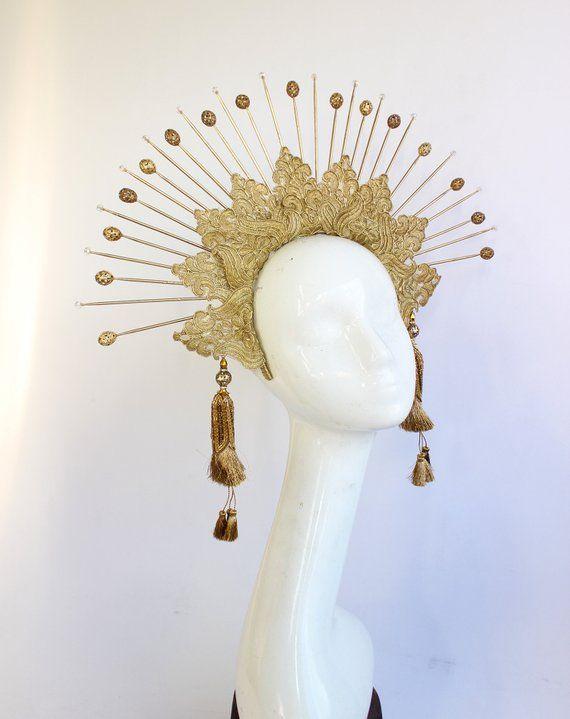 Sun Goddess Crown Headband, Halo Headpiece, Bridal Headdress, Virgin Mary, Saints, Burning Man, 6 Gold Spikes, Gold Tassels #crownheadband