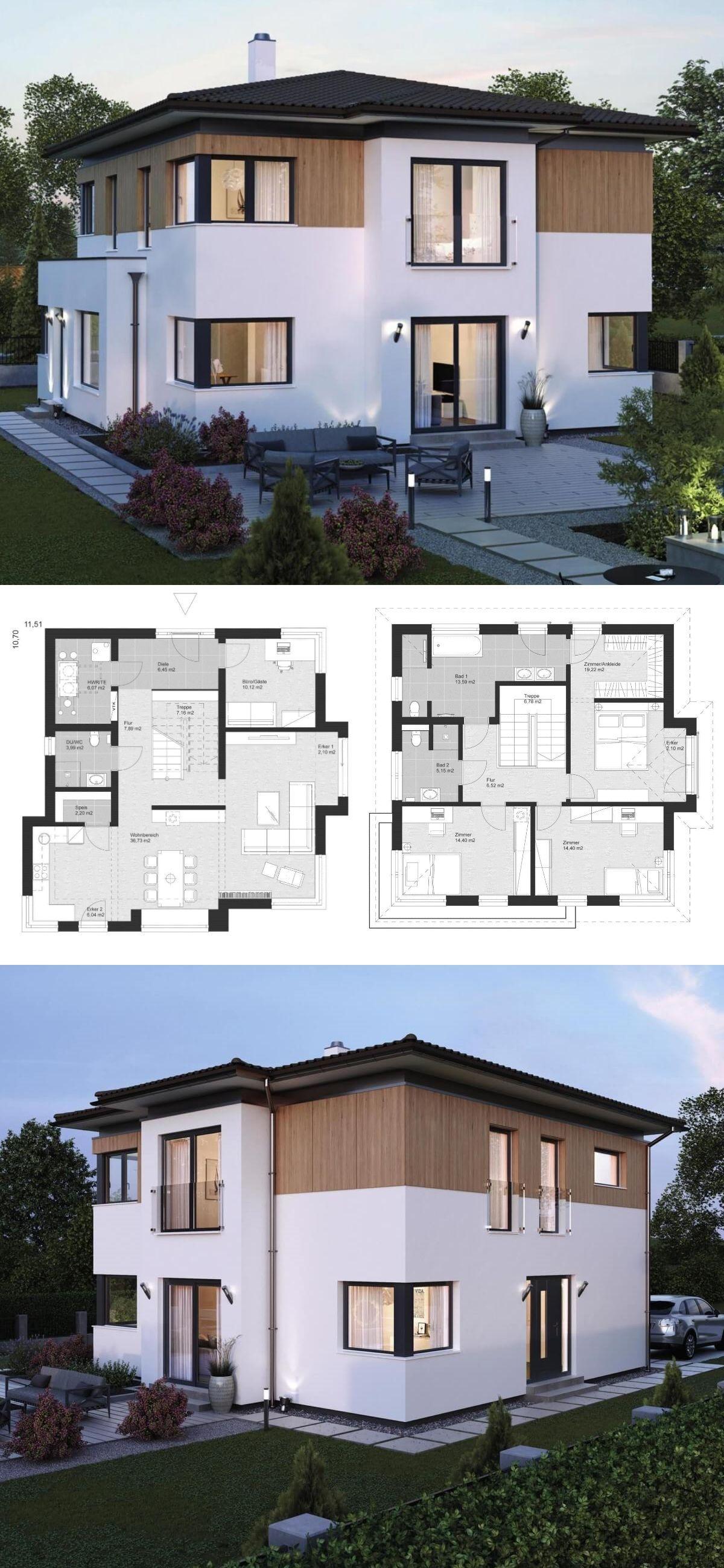Haus flur design-ideen stadtvilla im landhausstil mit walmdach architektur erker anbau