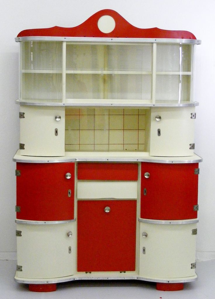 Fabulous VIntage Red And White Kitchen Hutch