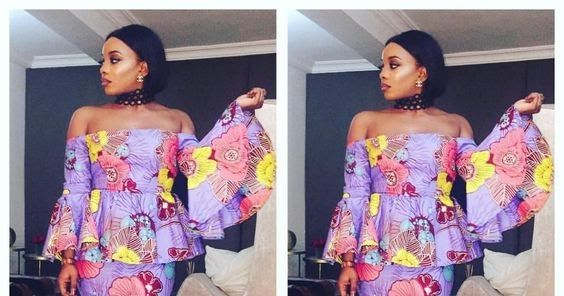 Lovely Off Shoulder Ankara Peplum Skirt And Blouse Styles With Bell