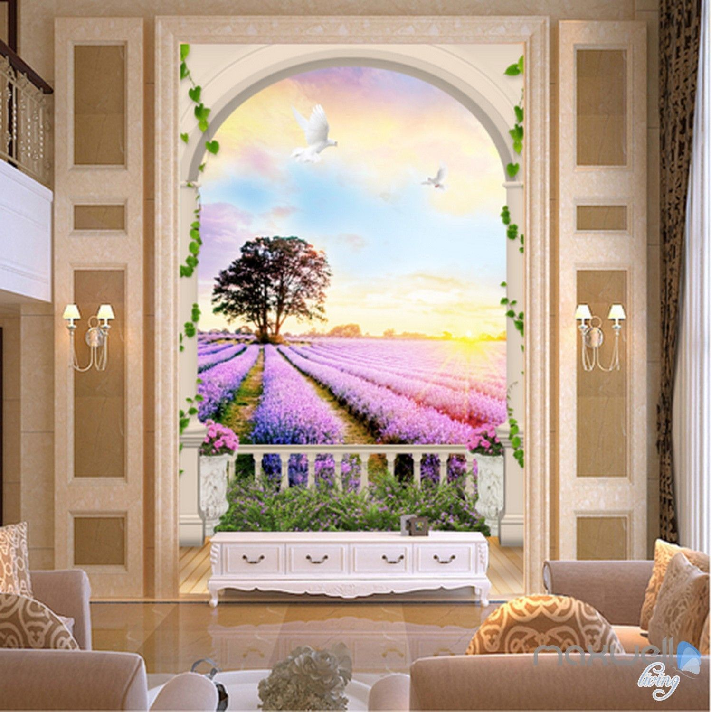 living room art prints%0A  D Arch Lavender Field Tree Sunrise Entrance Wall Mural Wallpaper Decal Art  Prints