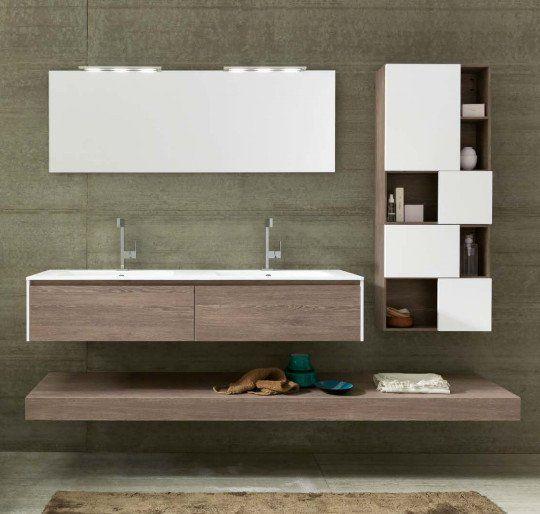 Mobile bagno sospeso in rovere castoro con elementi a for Elementi bagno
