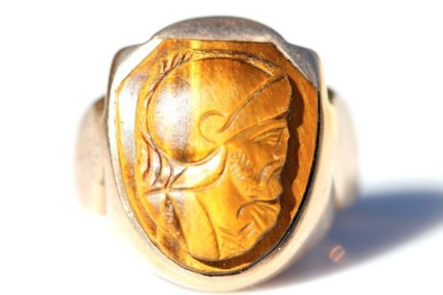 Vintage Men's 10K Yellow Gold Carved Tiger's Eye Cameo Signet Ring Size 8 | eBay
