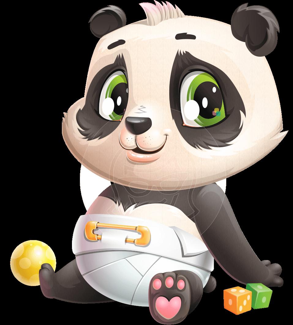 Baby Panda Vector Cartoon Character 112 Poses Graphicmama Baby Cartoon Characters Panda Illustration Baby Cartoon