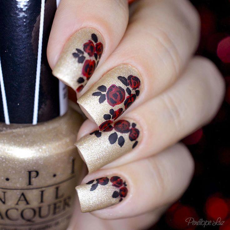 nice Nail Art Rosa Vermelha | Nail art by Penélope Luz (penelopeluz ...