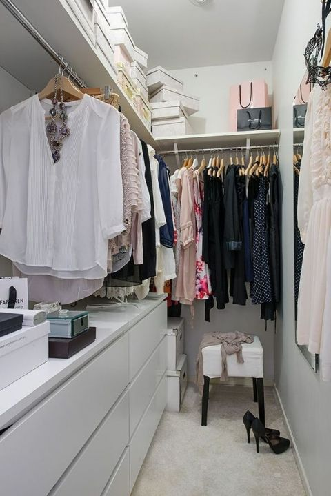 One Sided Closet With Dresser Storage Small Walkin