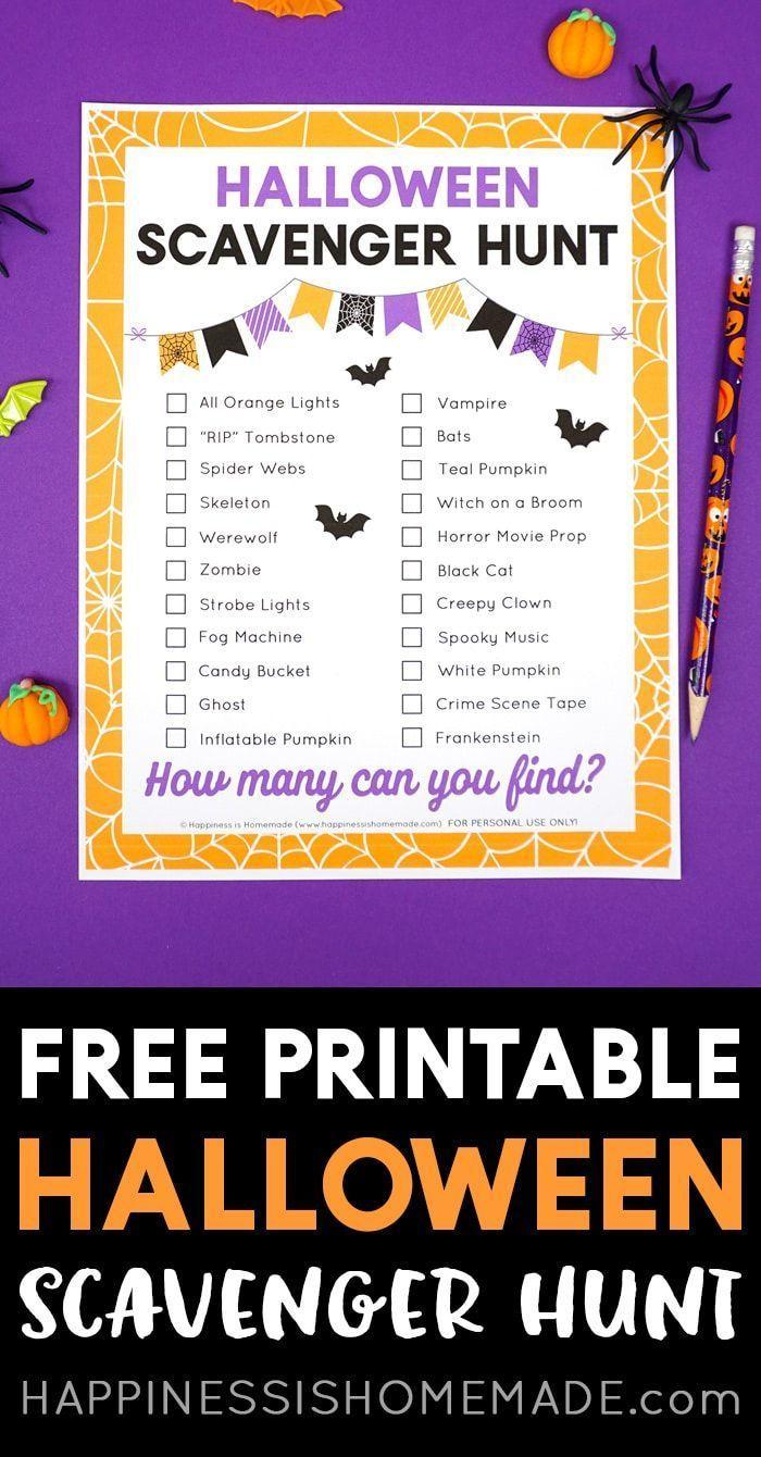 Free Printable Halloween Scavenger Hunt Game This free