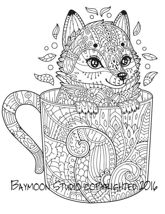 Fox in Coffee Mug Coloring Page | omalovánky náročné | Pinterest ...