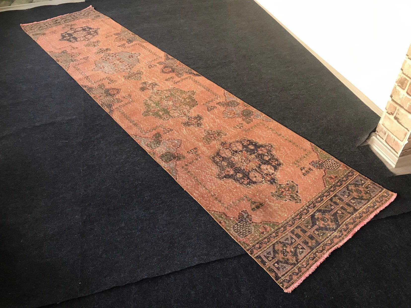 2 9x12 10ft Vintage Oushak Faded Color Runner Rug Free Shipping Turkish Worn Runner Carpet Low Pile Distressed Hallway Rug Kitchen Rug 2020 Ic Tasarim Tasarim Dekorasyon