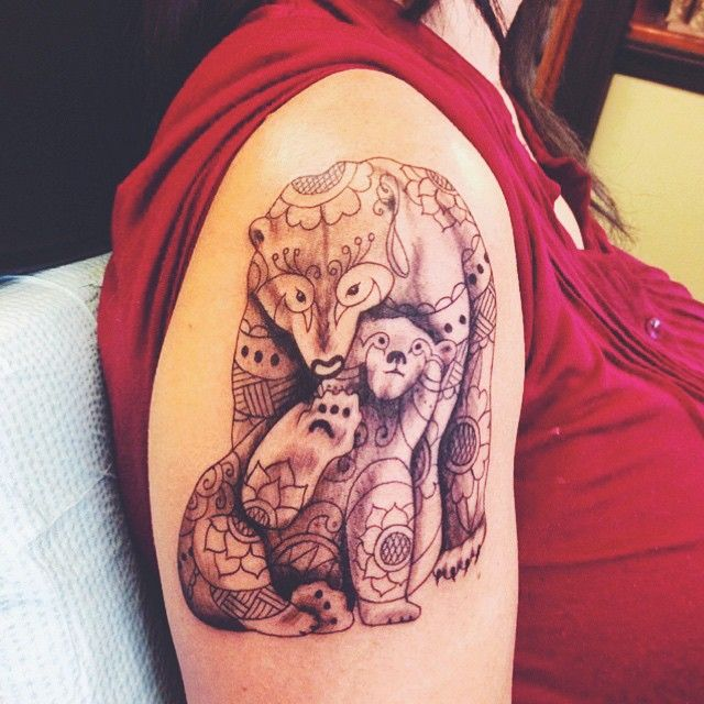 Bear Tattoo With Cub: Mother's Day Gift Momma Bear And Baby Bear Tattoo By Chris