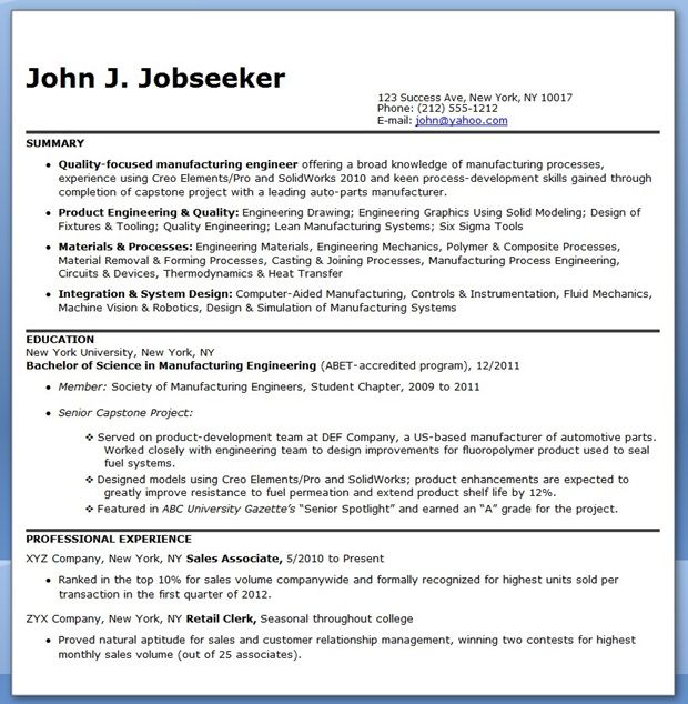 Manufacturing Engineer Resume Samples Entry Level  Creative