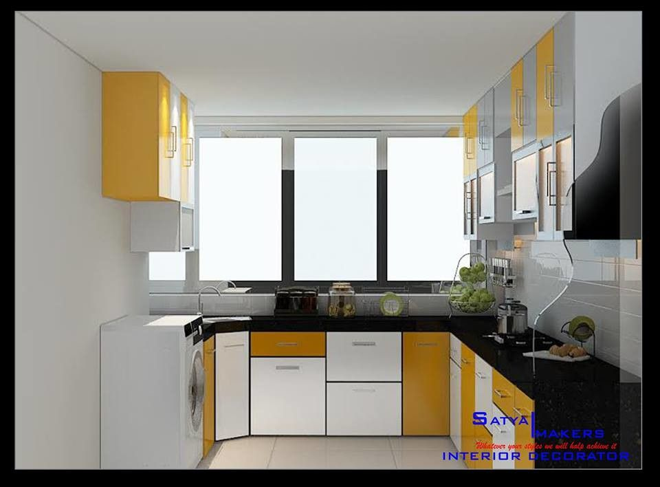 View Of Modular Bright Kitchen Having Black Platform Top Under Counter Shaker Cabinets And Over Head Units For Stor Kitchen Decor Indian Homes Bright Kitchens