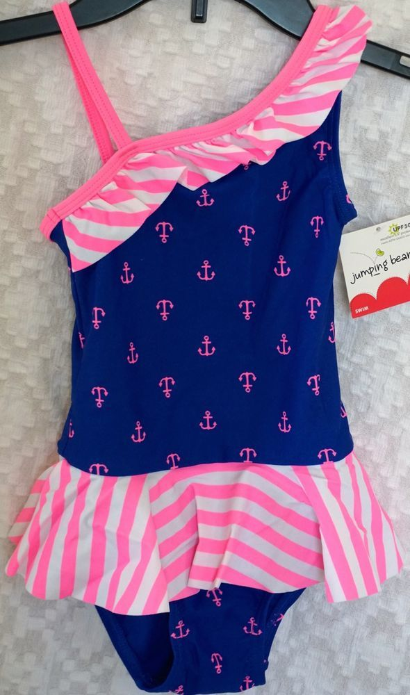 Jumping beans girls shoulder anchors pc swim bathing suit swimwear sz new jumpingbeans onepiece also details about rh pinterest