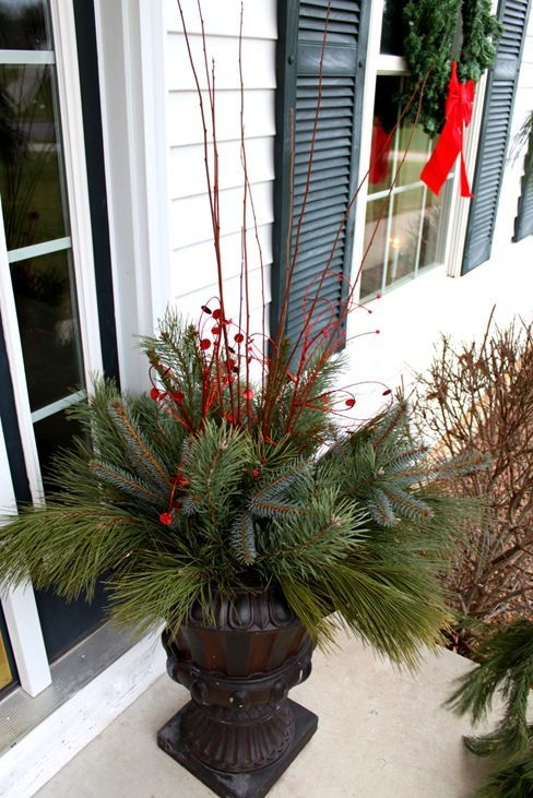 Decorating Front Porch Urns For Christmas Love This Arrangementmine Would Never Look Like This Though