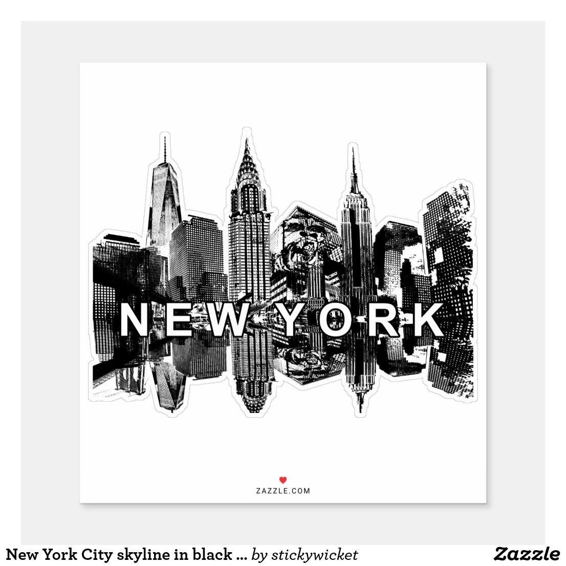 New York City skyline in black ink Sticker