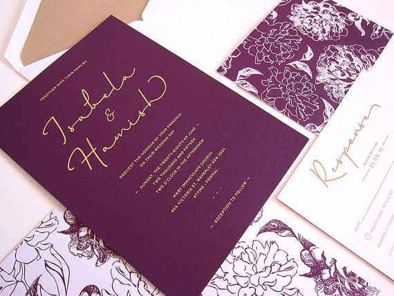 This beautiful and elegant plum, white and gold Wedding Invitation is printed on quality card stock with gold foiling. Card stock comes in