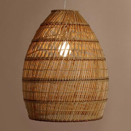 Woven Basket Lamp : Basket weave bamboo pendant shade ambient light