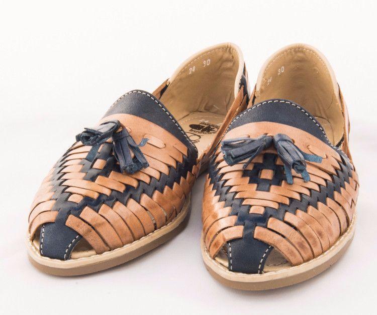c00b1a2390642 Mexican Huarache Sandals - Women's Cascabel Style Denim/Tan ...