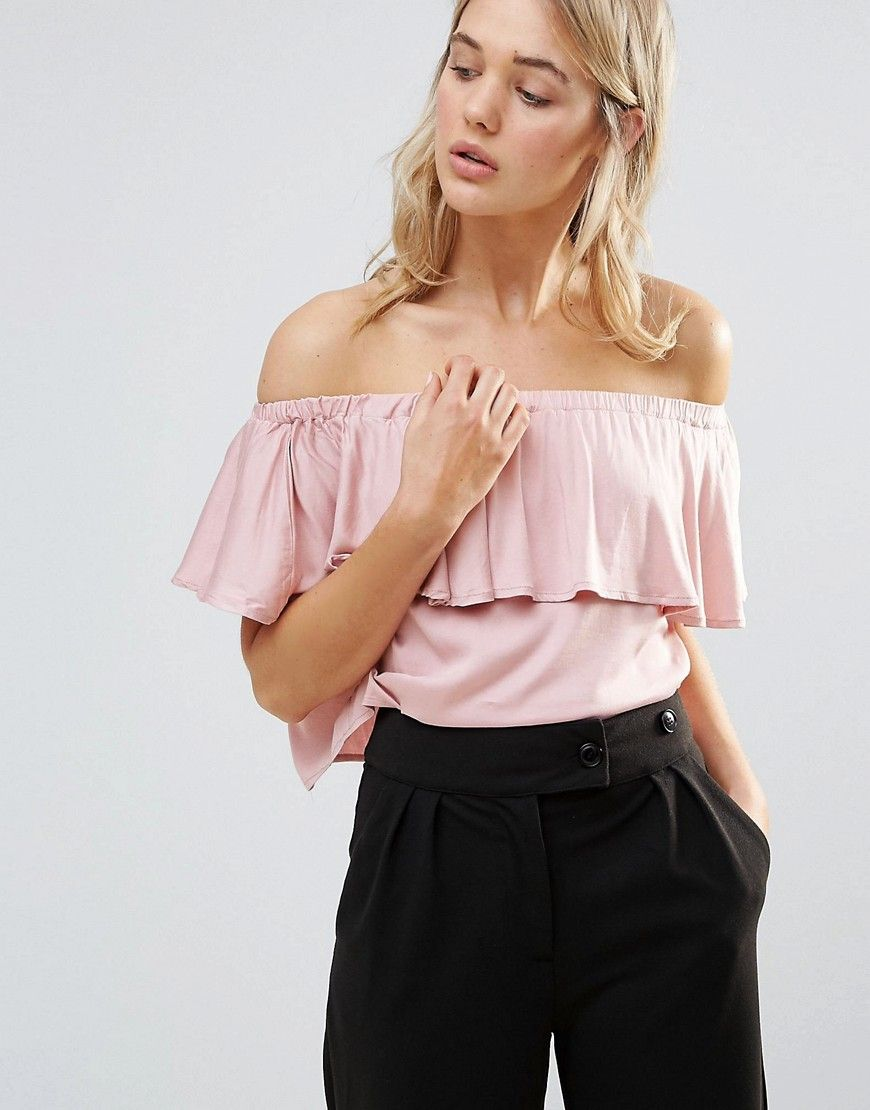7f3a8b40173 Neon Rose Frill Bardot Top - Pink. Top by Neon Rose, Soft-touch jersey,  Stretch off-shoulder design, Cropped frill overlay, Regular fit - true to  size, ...