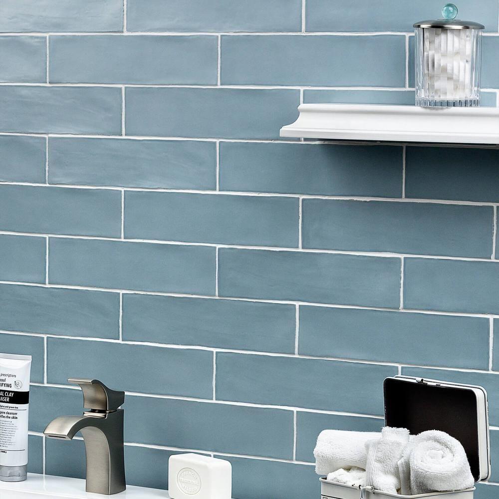 Splashback Tile Strait Blue 3 In X 12 In 8 Mm Polished Ceramic Subway Wall Tile 22 Piece 5 38 Sq Ft Blue Tile Backsplash Blue Glass Tile Blue Subway Tile