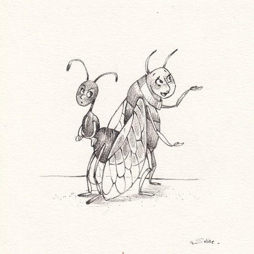 Illustration originale la cigale et la fourmi au crayon dessins par anne soline sintes - Coloriage la cigale et la fourmi ...