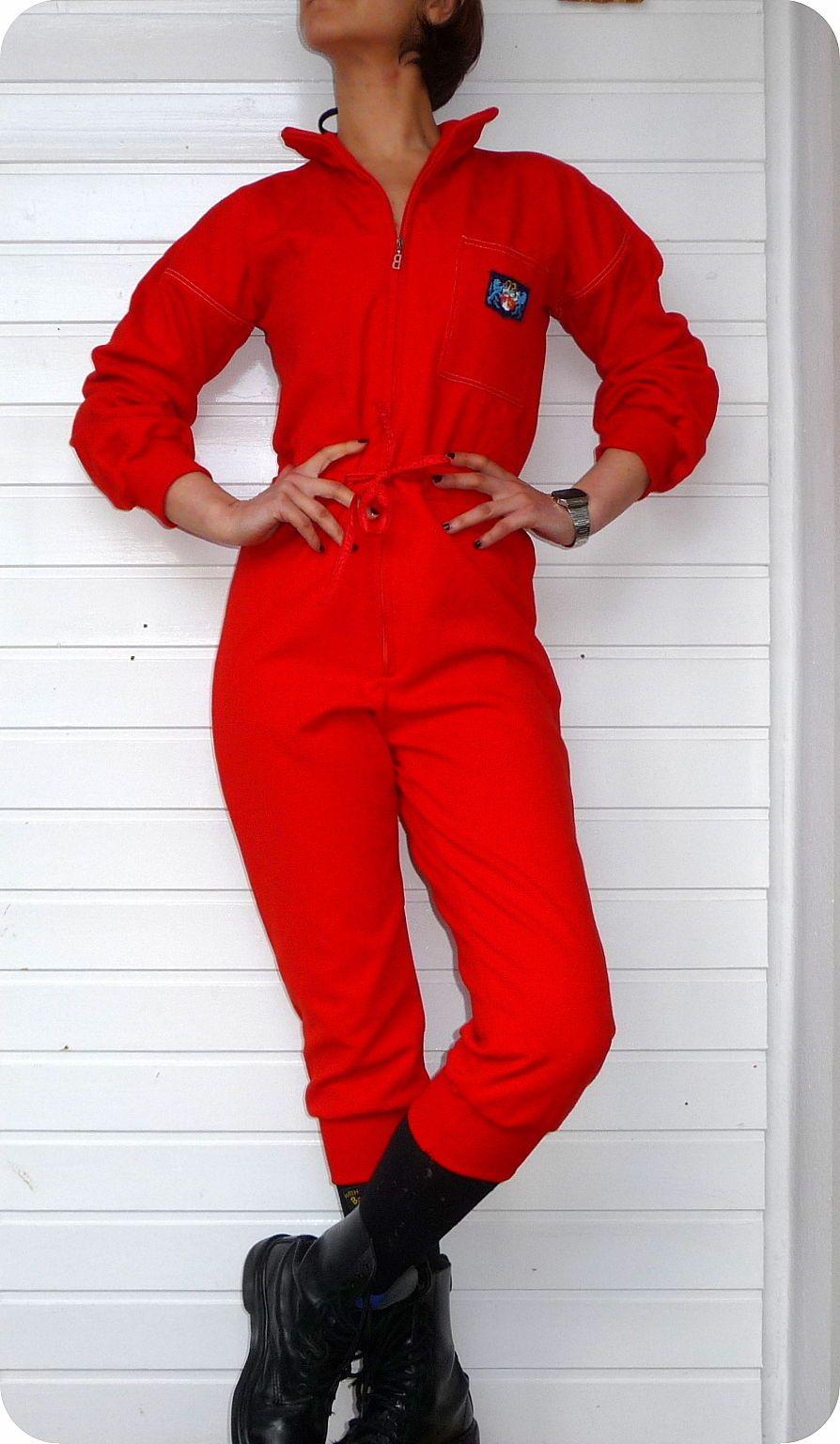 vintage unikat bogner overall jumpsuit women 70er hose catsuit rot ski twiggy in kleidung. Black Bedroom Furniture Sets. Home Design Ideas