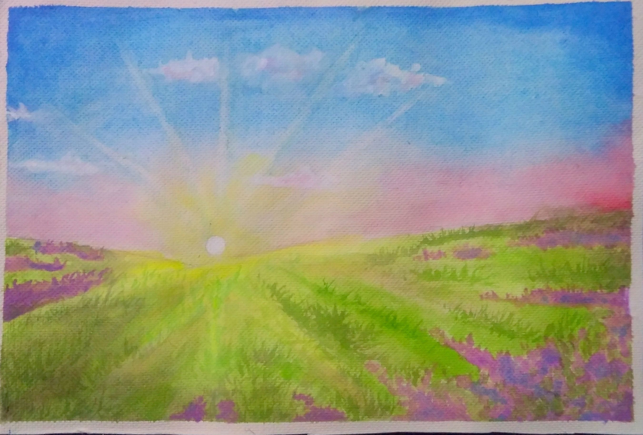 Watercolor Painting Sunrise And Mountain Flowers You Tube