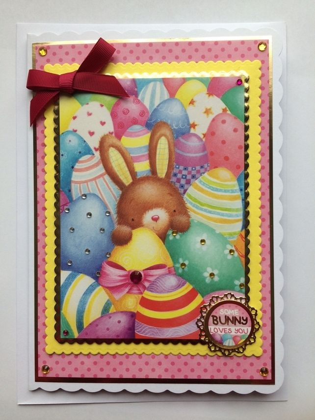 3d luxury handmade easter card some bunny loves you