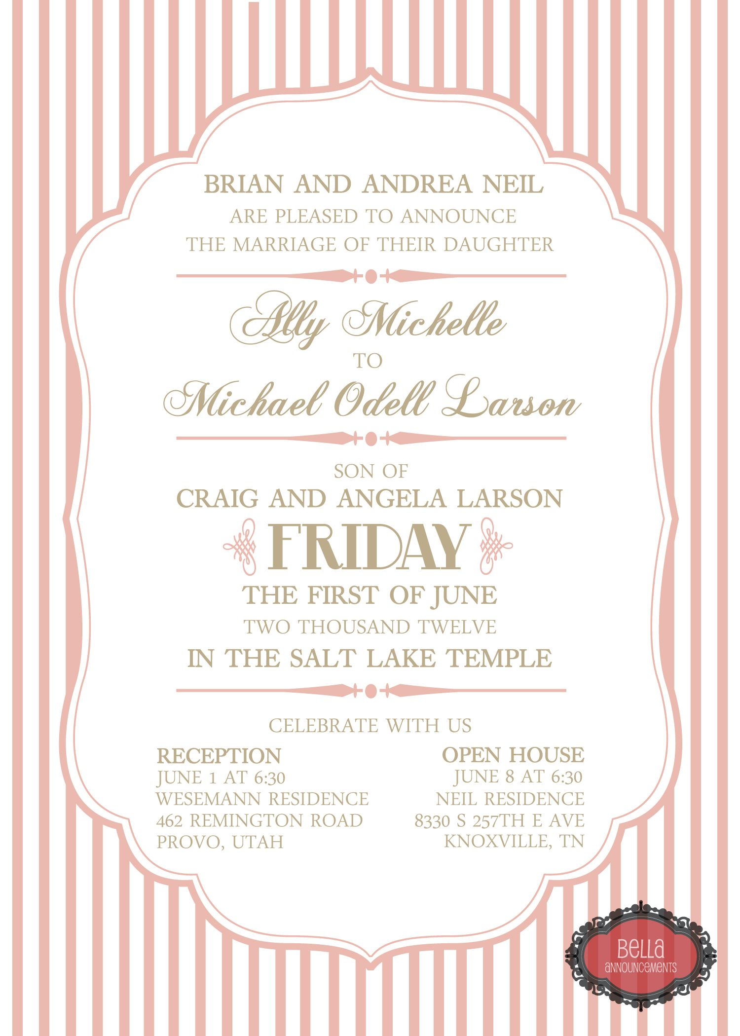 Just change the color to teal and the background to something else pink wedding invitation pink and champagne wedding invitation vintage wedding invitation stripe wedding invitation monicamarmolfo Images