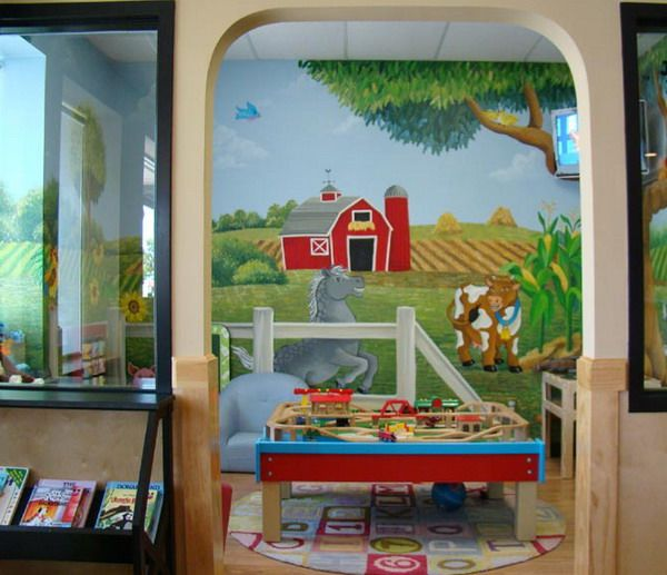 Abest Playrooms For Kids | ... Best Play Rooms Childrens Playing Murals  Childrens Wall Part 34