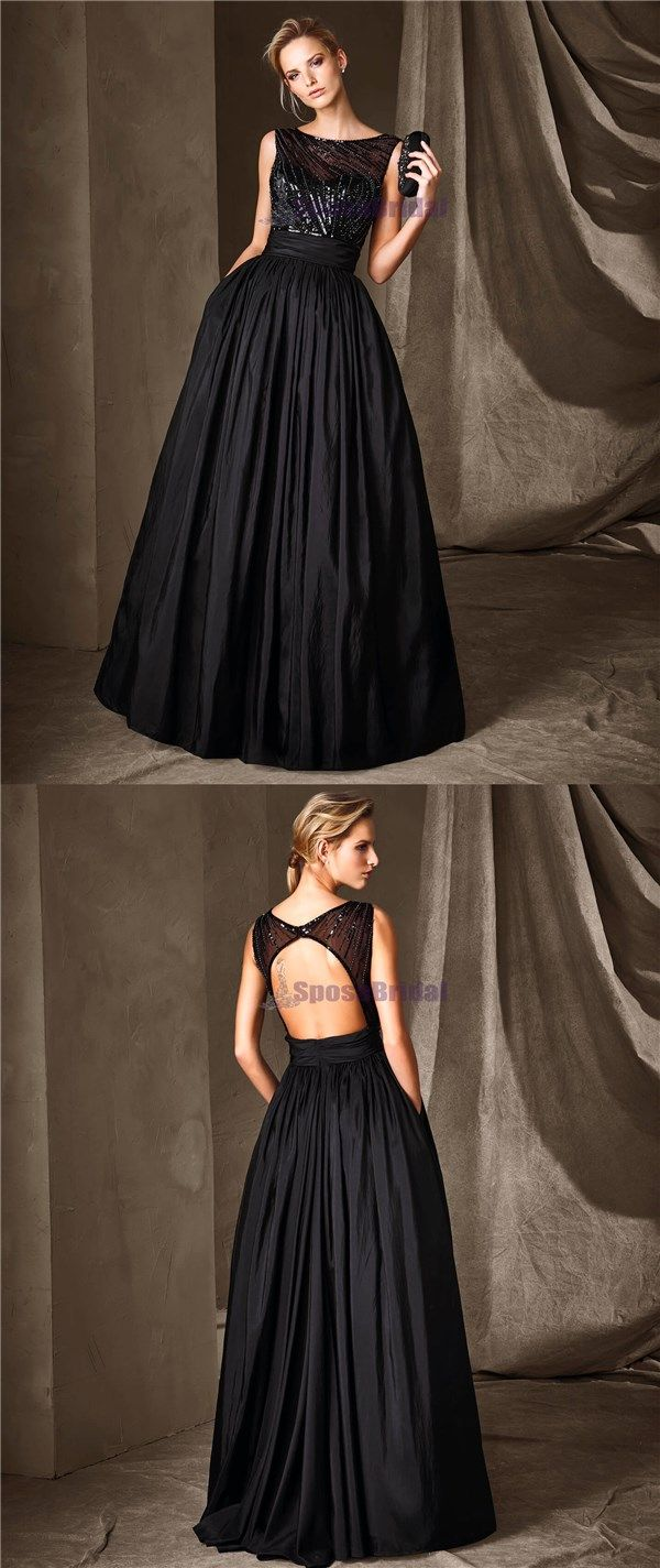 Black sparkly scoop open back aline floorlength high quality party