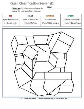 Quad Classification Search 1 Quadrilaterals Activities Quadrilateral Classification Quadrilaterals