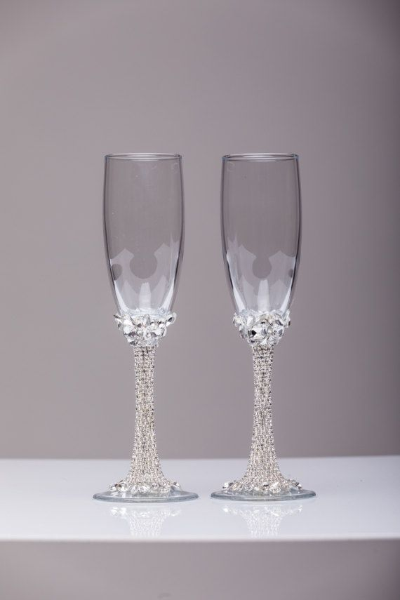 Personalized Gles Rose Gold Champagne Flutes Wedding Toasting Set Of 2 Silver