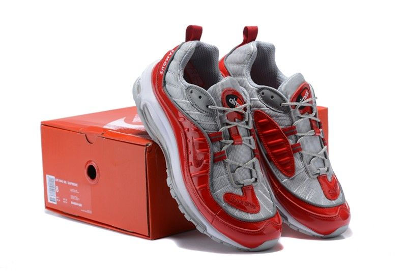 793992dfe4d8 Supreme x Nike Air Max 98 Men s Newest Athletic Sneakers 844694 600  University Red Wolf Grey