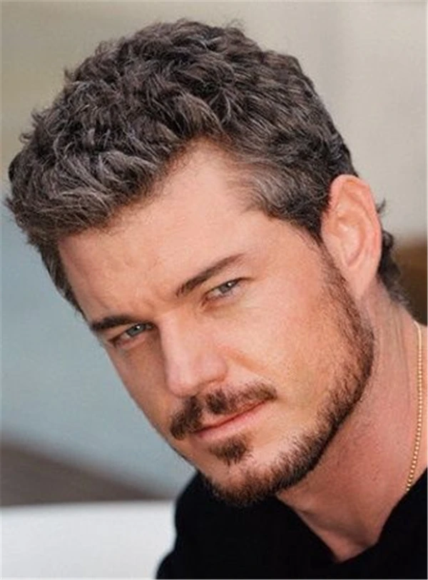 Photo of Men's Hairstyle Piexie Hairstyle Short Straight Human Hair Full Lace Wigs