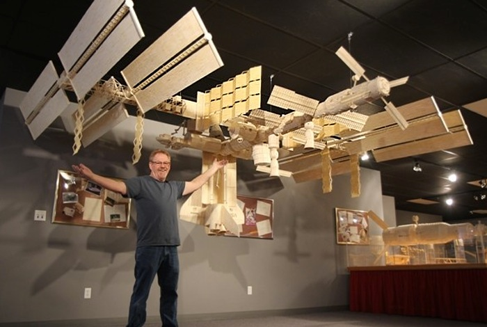 Incredible matchstick international space station #ISS model built using 282,000 matchsticks