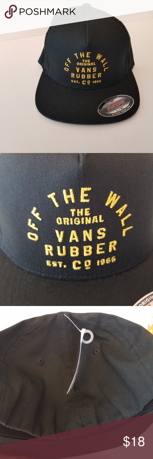 d78cba4c05c NWT Vans stacked rubber flexfit hat S M New with tags. Black hat with  yellow embroidered logo