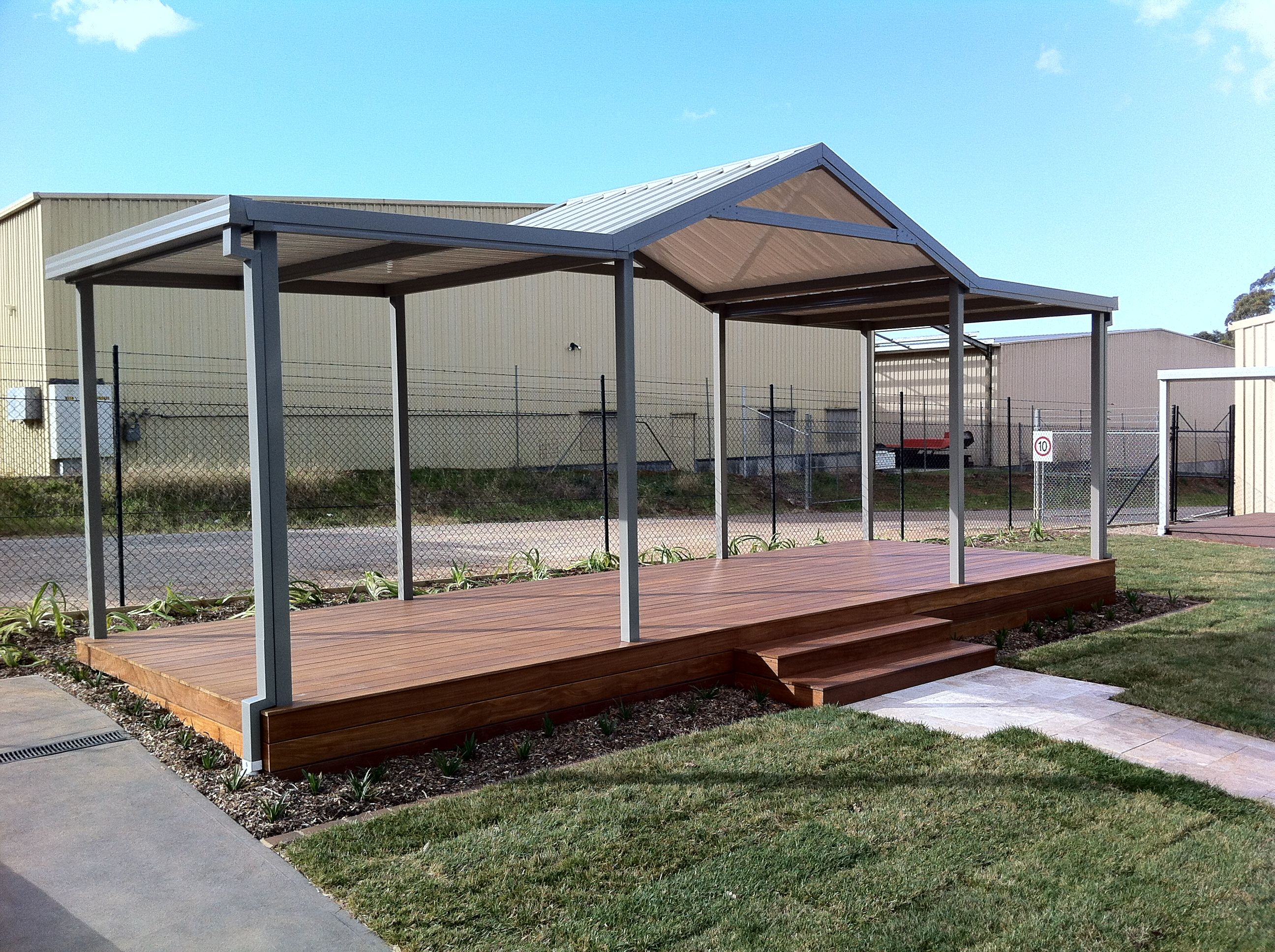 boxspan deck frame with tonka hardwood decking boards and steel frame pergola over photo taken