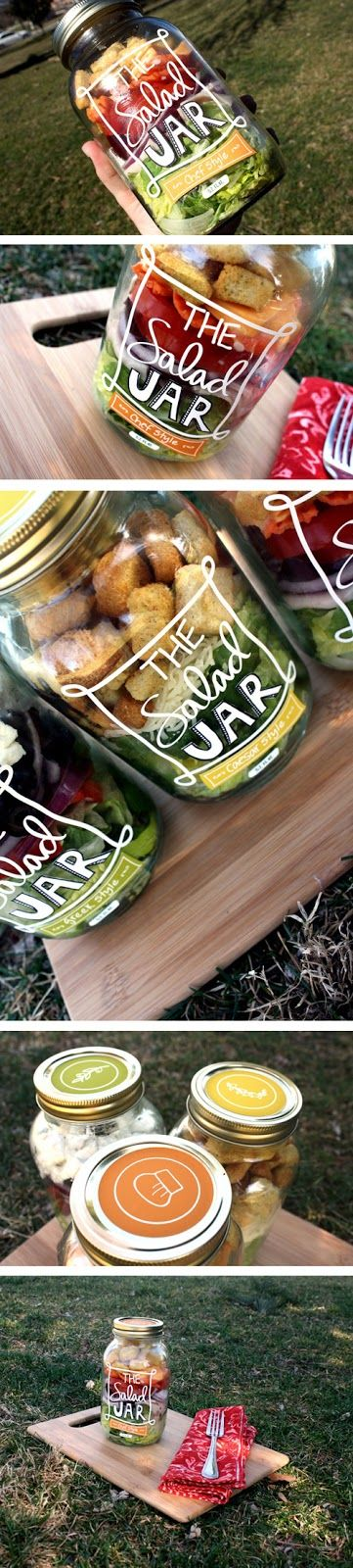 The Salad Jar. #packaging in action. Such a clever way to pack a tasty lunch or even make salads for an entire week. PD