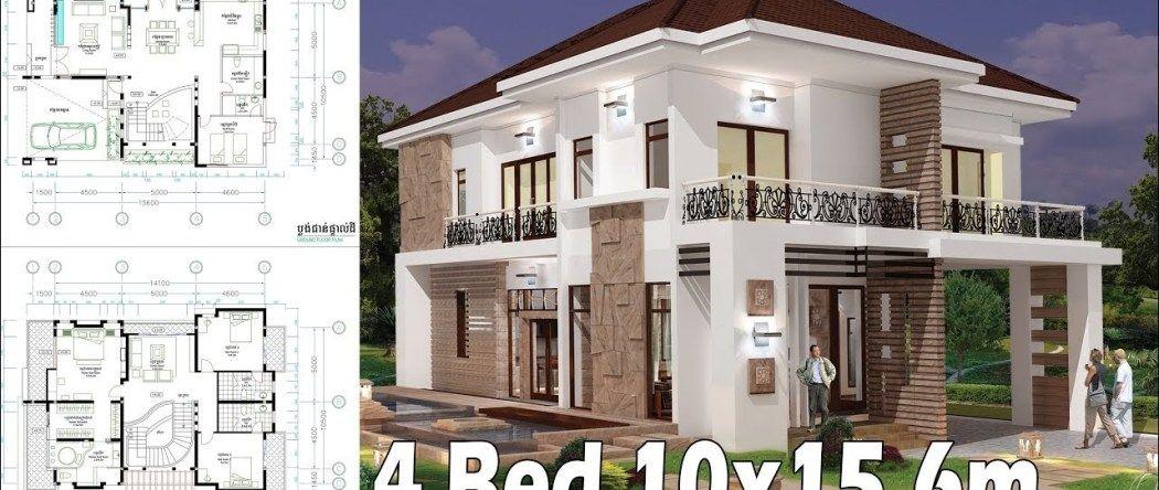 4 Bedroom Home Plan Full Exterior And Interior 10x15 6m Samphoas Plan In 2020 House Plans Modern Villa Design Home Design Plans