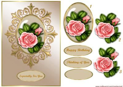 Classic Frame Pink Roses on Craftsuprint designed by Marijke Kok - Gorgeous classic card with beautidul roses in golden frame. - Now available for download!