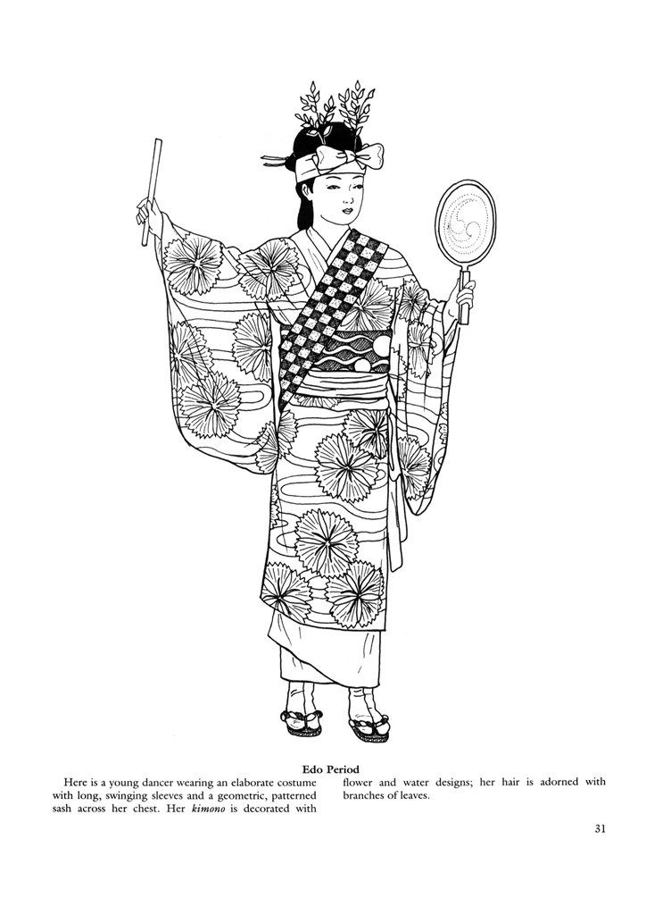 Japanese clothing colouring pages. | Coloring Things | Pinterest | Japon