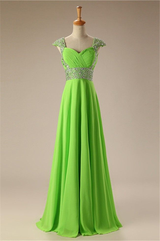 26507a0e87d Sweetheart Cap Sleeve Long Lime Green Chiffon Beaded Prom Dress Lace Up Back