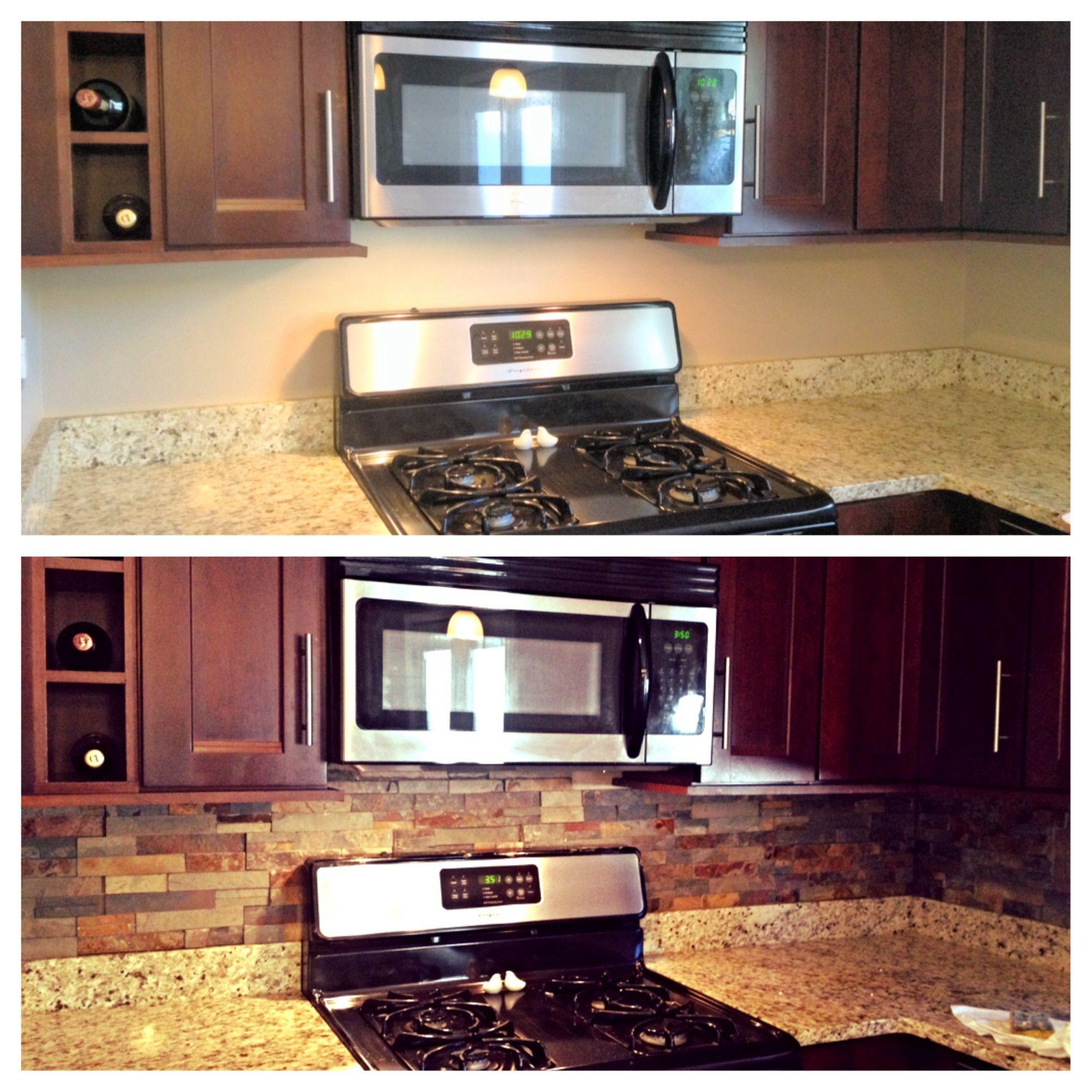 Fixer Upper Kitchen Backsplash: Ledgestone Backsplash. Before And After