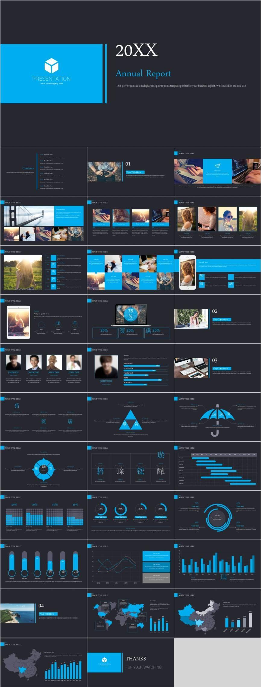 Blue modern report PowerPoint template