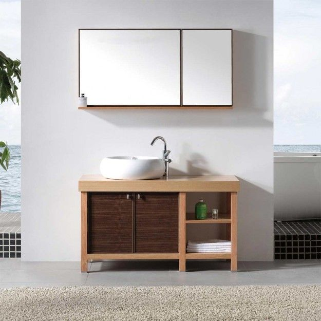 Simple Wood Bathroom Vanity With Right Side Space Storage That Have ...
